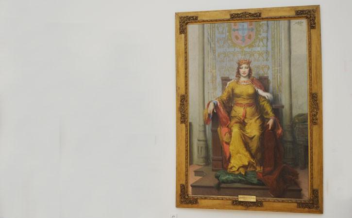 A Rainha Dona Leonor a Fundadora, retrato de D. Leonor, da autoria de José Malhoa, em Caldas da Rainha