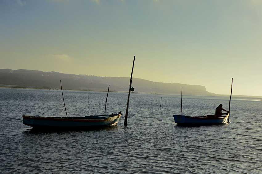 Sites to Holding Hands in Caldas da Rainha, Boats on Óbidos Lagoon