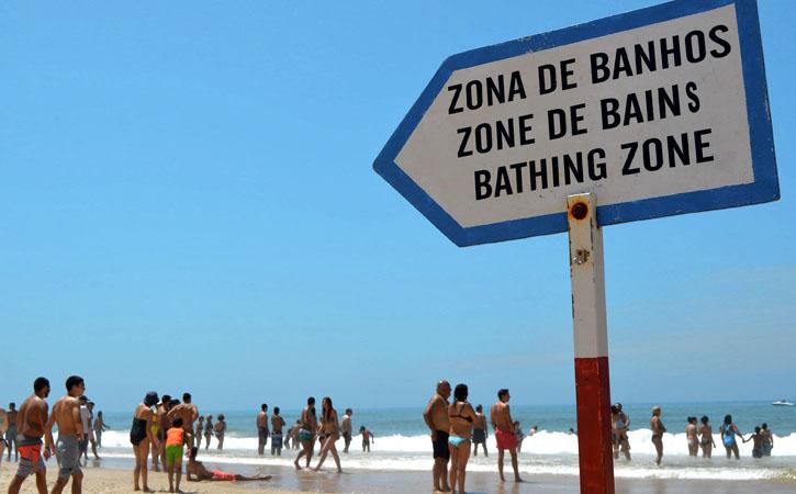 Zona de Banhos na praia da Foz do Arelho